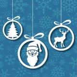 De blauwe abstracte achtergrond van Kerstmisballen Stock Afbeeldingen