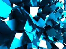 De blauwe Abstracte Chaotische Achtergrond van de Ontwerpmuur Stock Afbeelding