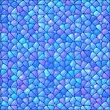 De blauwe abstracte achtergrond van het gebrandschilderd glasmozaïek Stock Afbeeldingen
