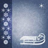 De blauwe achtergrond van de grungewinter met slee. EPS10 royalty-vrije illustratie