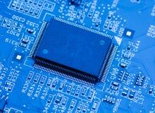 De blauwe achtergrond van de kringsraad van computer Stock Foto