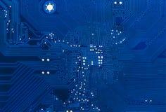 De blauwe achtergrond van de kringsraad van computermotherboard Royalty-vrije Stock Foto