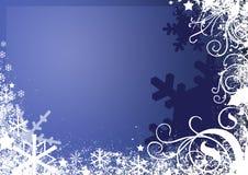 De blauwe Achtergrond van de Sneeuwvlok Royalty-vrije Stock Afbeeldingen
