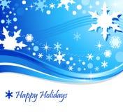 De blauwe Achtergrond van de Vakantie van de Sneeuwvlok Stock Afbeeldingen