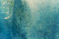De blauwe achtergrond van Grunge Donkergroene grungemuur - Grote texturen Stock Afbeeldingen