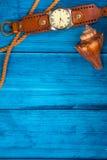 De blauwe achtergrond van het de zomerthema met ruimte voor adverterend en maritiem thema Royalty-vrije Stock Fotografie