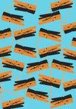 De blauwe achtergrond van het middelontwerp met oranje voorwerpen Stock Afbeelding
