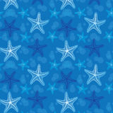 De blauwe achtergrond van het zeester naadloze patroon Royalty-vrije Stock Afbeeldingen