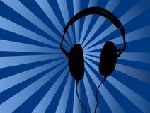 De blauwe Achtergrond van Hoofdtelefoons Stock Afbeeldingen