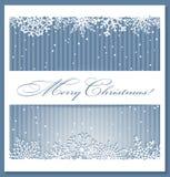De blauwe achtergrond van Kerstmis met sneeuwvlokken Stock Afbeelding