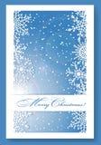 De blauwe achtergrond van Kerstmis met sneeuwvlokken Stock Fotografie