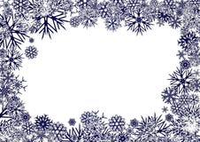 De blauwe Achtergrond van Sneeuwvlokken Stock Foto