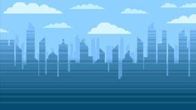 De blauwe achtergrond van stadswolkenkrabbers, de illustratie van de het videospelletjestijl van de pixelkunst Stock Foto