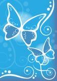 De blauwe achtergrond van vlinders vector illustratie