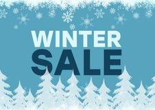 De blauwe achtergrond van de de winterverkoop en witte sparren, sneeuwvlokken Royalty-vrije Stock Fotografie