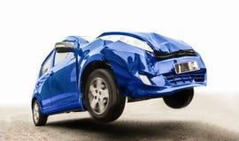 De blauwe auto op de weg royalty-vrije stock afbeelding