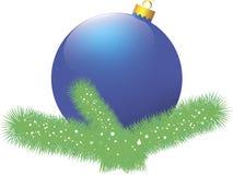 De blauwe bal van Kerstmis Stock Foto