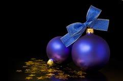 De blauwe ballen van Kerstmis Royalty-vrije Stock Foto's