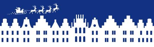 De blauwe banner van de winterkerstmis royalty-vrije illustratie