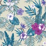 De blauwe beige achtergrond van het tint naadloze vector botanische patroon stock illustratie
