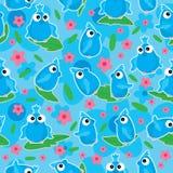 De blauwe Bloei Naadloze Pattern_eps van de Bloem van Vogels Stock Foto