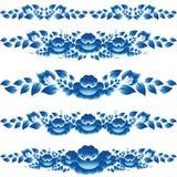 De blauwe bloemenontwerpelementen en de paginadecoratie om op te smukken u ontschorsen Royalty-vrije Stock Foto