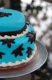 De blauwe Cake van het Huwelijk Stock Afbeeldingen