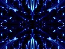 Fantasie blauwe cellen op heldere blauwe achtergrond stock afbeeldingen