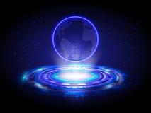 De blauwe Cirkel van de de Wereldkaart van het Technologiehologram, Hologram Abstracte Bac Stock Foto