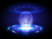 De blauwe Cirkel van de de Wereldkaart van het Technologiehologram, Hologram Abstracte Bac Royalty-vrije Stock Afbeeldingen