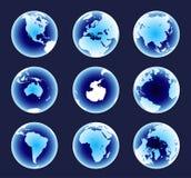 De blauwe Continenten van de Wereld Royalty-vrije Stock Foto's