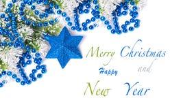 De blauwe decoratie van Kerstmis Stock Fotografie
