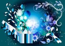 De blauwe decoratieve achtergrond van Kerstmis Stock Foto's