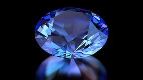 De blauwe diamant roteert op de zwarte achtergrond Hoge resolutie, 4K animatie vector illustratie