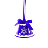 De blauwe die klok van het Kerstmiskenwijsje op wit Nieuwjaar wordt geïsoleerd als achtergrond Stock Fotografie