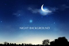 De blauwe donkere achtergrond van de Nachthemel met halve maan, wolken en sterren De nacht van het maanlicht Vector illustratie D Stock Afbeelding
