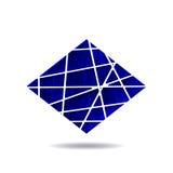 De blauwe driehoek met witte en lichtblauwe strepen logotype Wit stercijfer Minimaal stijlart. Vector illustratie Stock Fotografie