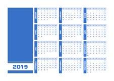 De blauwe Duitse kalender van 2019 vector illustratie