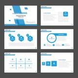 De blauwe elementen van het malplaatjeinfographic van de veelhoekpresentatie en de reeks van het pictogram vlakke ontwerp reclame Stock Foto's
