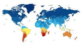 De blauwe en gele gedetailleerde kaart van de Wereld Stock Afbeelding