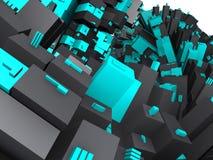 De blauwe en grijze futuristische bouw van de fantasie Royalty-vrije Illustratie