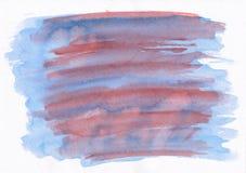 De blauwe en rode horizontale strepen van de waterverfborstel Deze hand dra Stock Fotografie