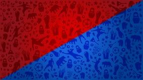 De blauwe en Rode kop 2018 Rusland van de achtergrondwereldvoetbal Stock Foto