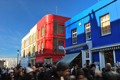 De blauwe en rode weg van winkelportobello Royalty-vrije Stock Afbeelding