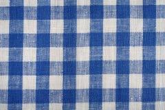 De blauwe en witte achtergrond van de linnenstof Stock Foto's