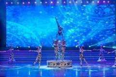 De blauwe en witte porselein-acrobatiek-algemene Vakbonds` s Dag van de Arbeid toont Royalty-vrije Stock Fotografie