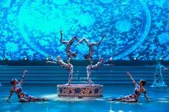 De blauwe en witte porselein-acrobatiek-algemene Vakbonds` s Dag van de Arbeid toont Stock Afbeelding