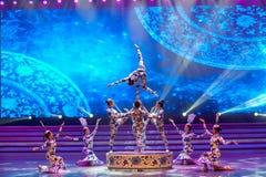De blauwe en witte porselein-acrobatiek-algemene Vakbonds` s Dag van de Arbeid toont Royalty-vrije Stock Foto's