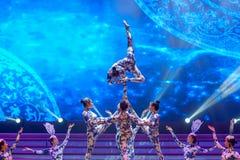 De blauwe en witte porselein-acrobatiek-algemene Vakbonds` s Dag van de Arbeid toont Stock Foto