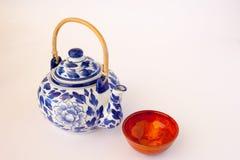 De blauwe en Witte Theepot van China Stock Afbeelding